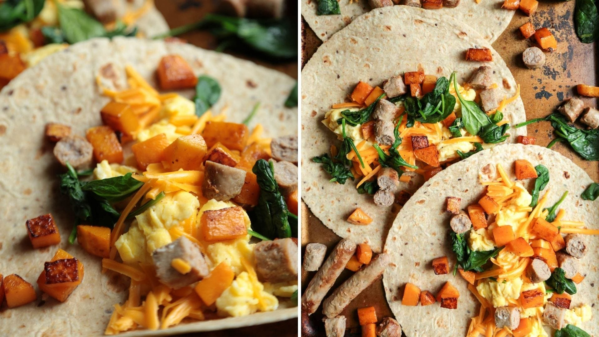Tortillas with squash, eggs, spinach, and turkey