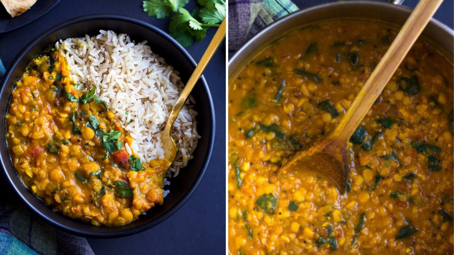 A bowl of golden dal and rice