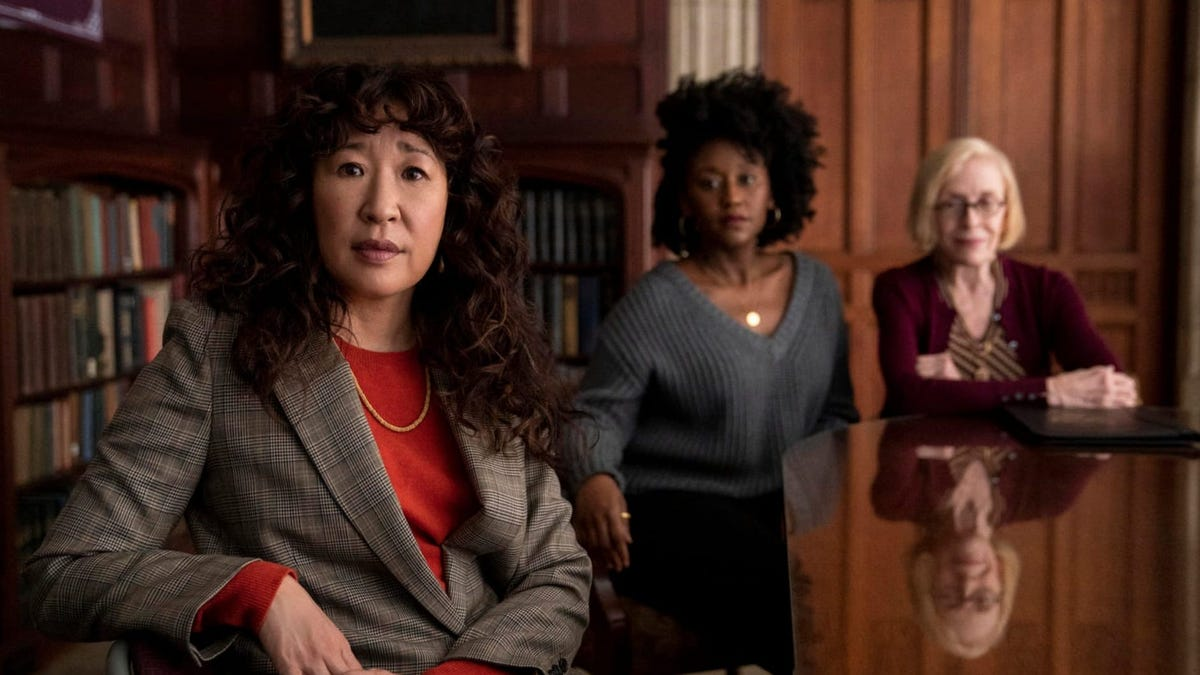 """Sandra Oh and two co-stars in a scene from """"The Chair."""""""