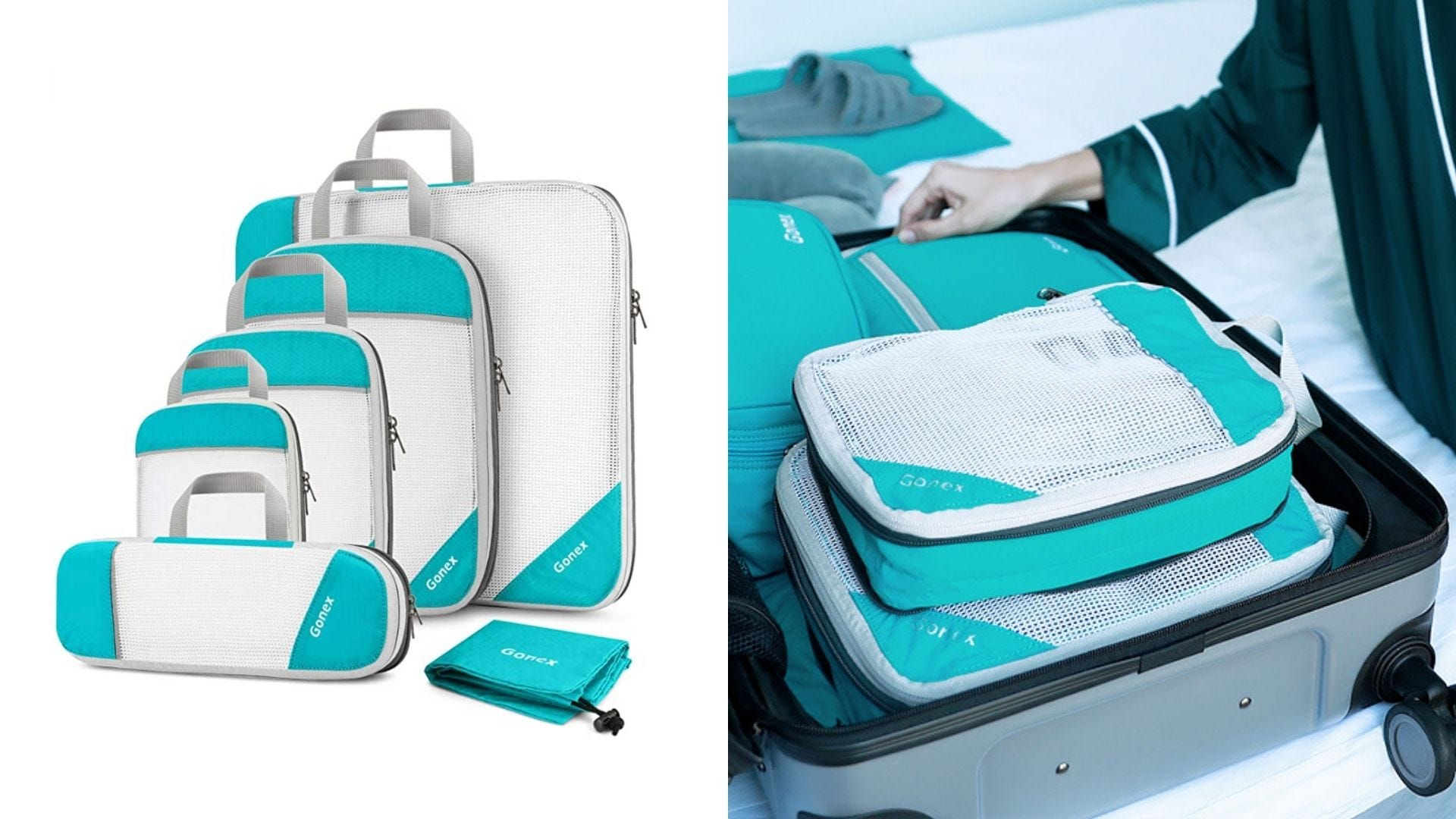 A set of teal packing cubes and someone uses packing cubes in their suitcase