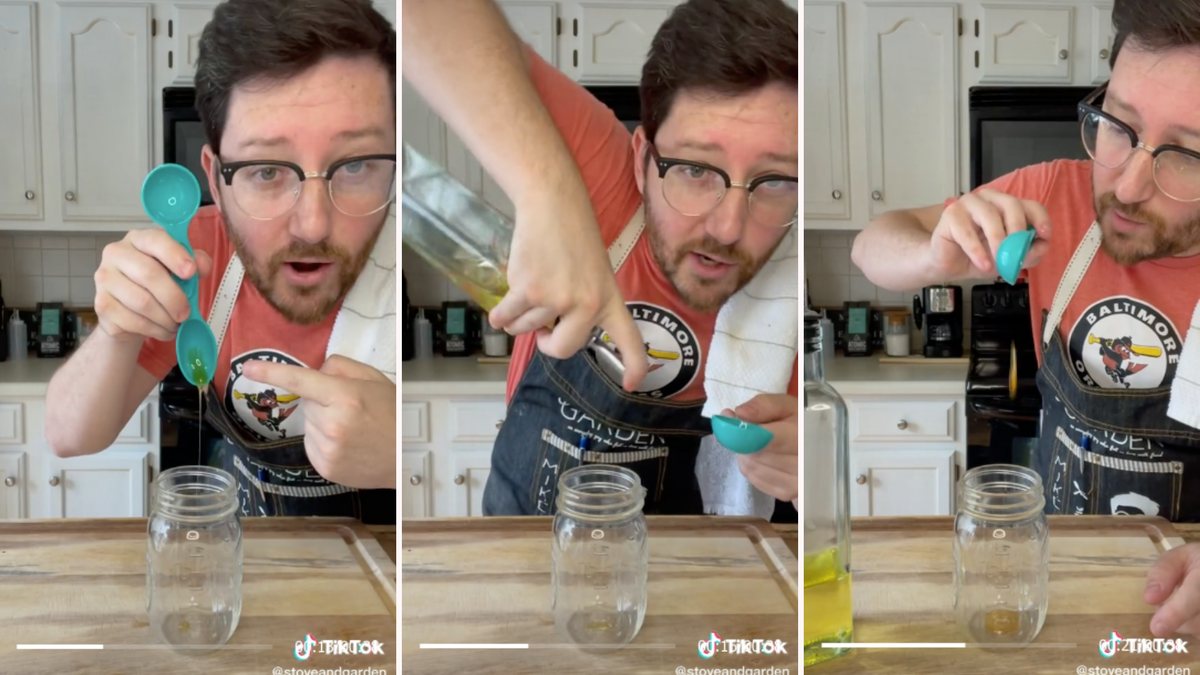 A man demonstrates how to add oil to prevent sticky ingredients from sticking to measuring cups.