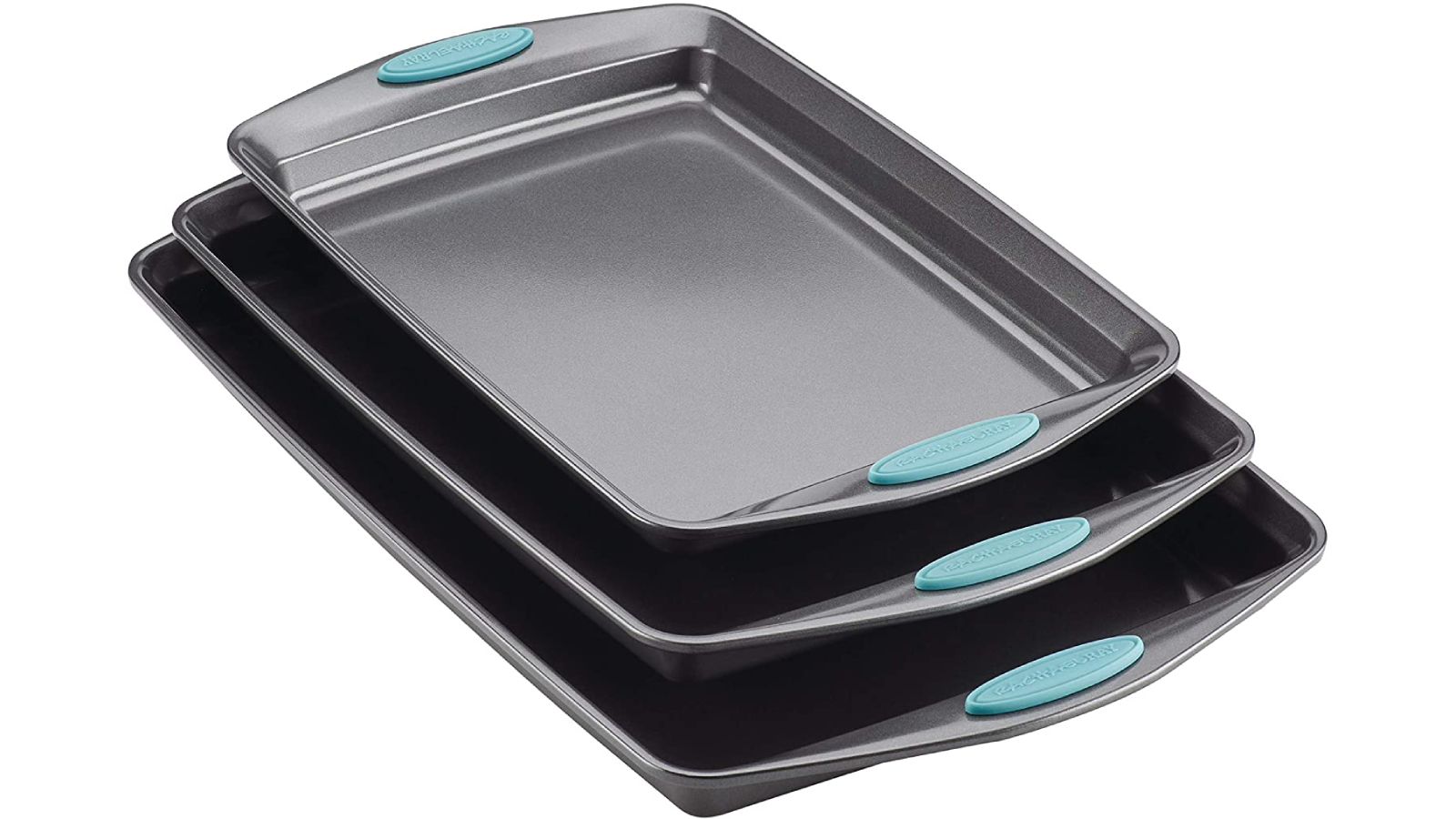 Three nested steel baking sheets with teal hand grips.