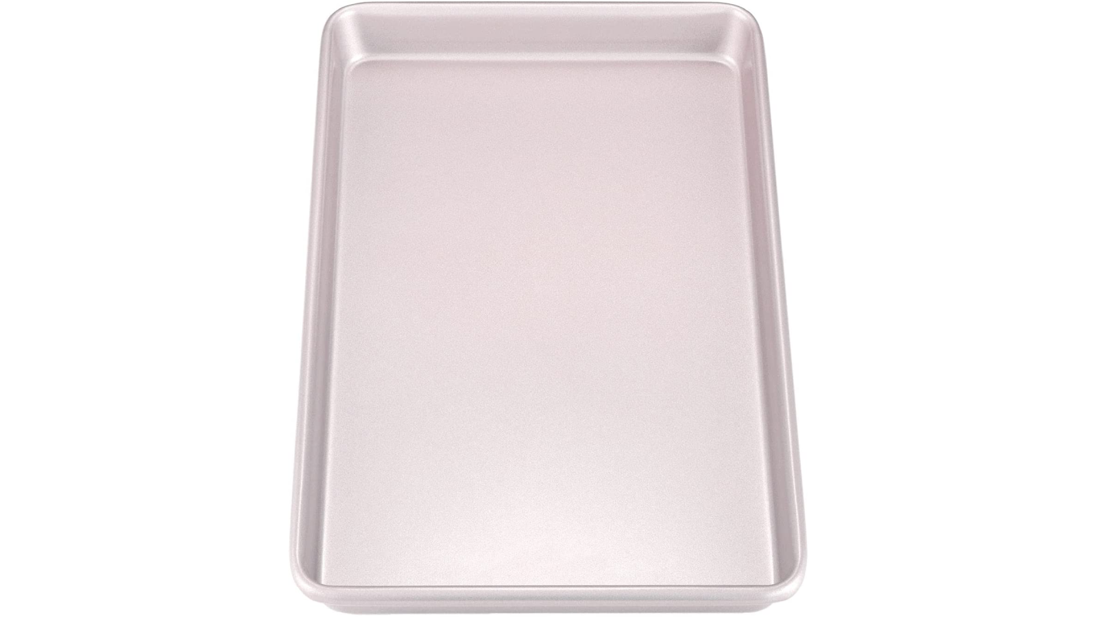 One carbon steel rimmed baking sheet in a champagne gold color.