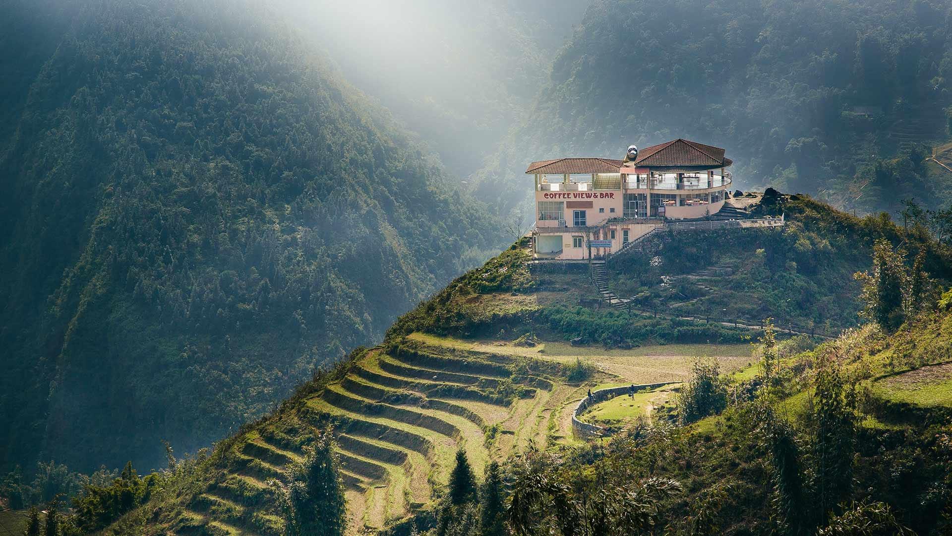A coffee shop on the peaks of Fan Si Pan mountain in Vietnam.