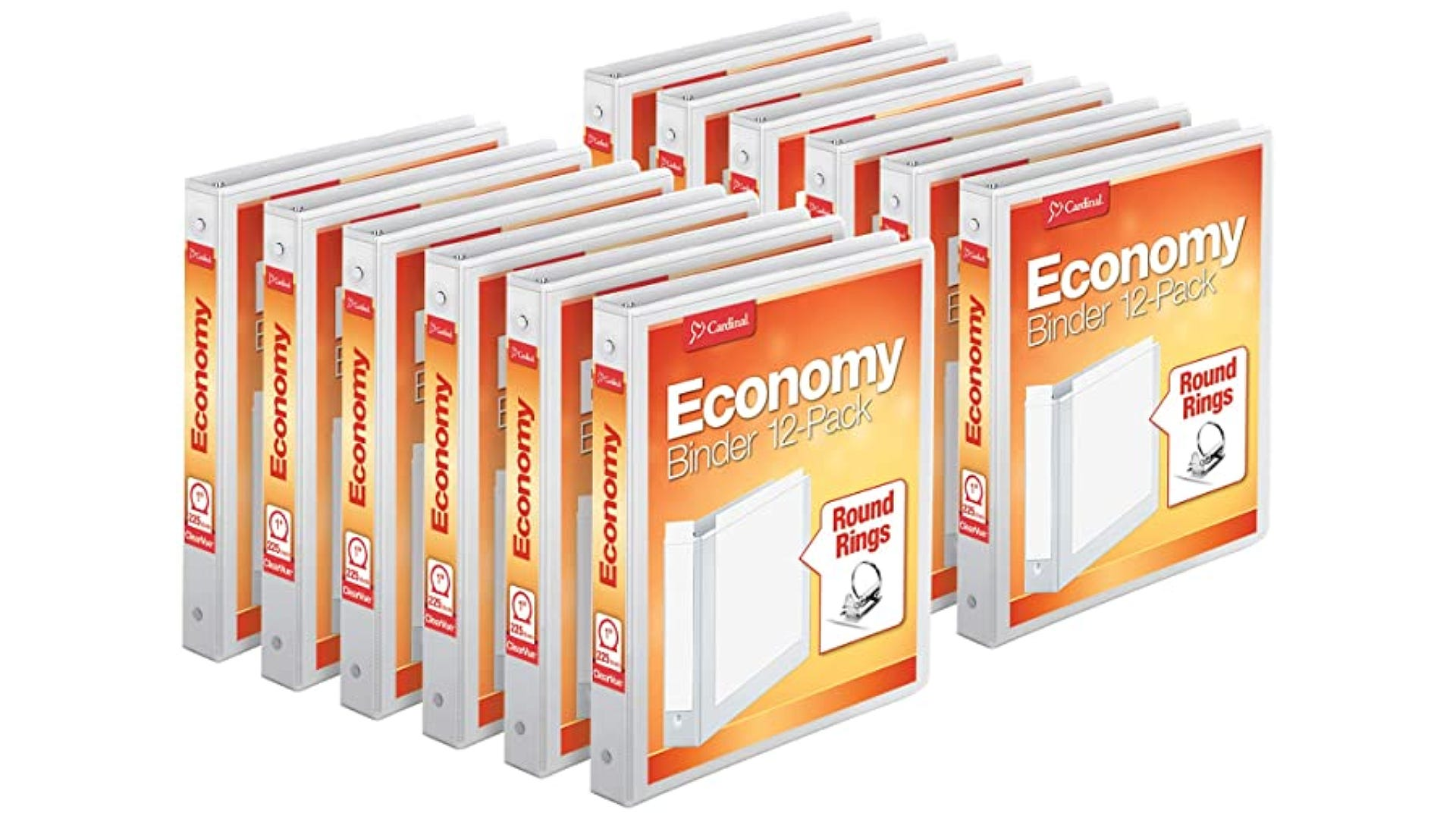 Twelve white binders with removable front and side pockets.