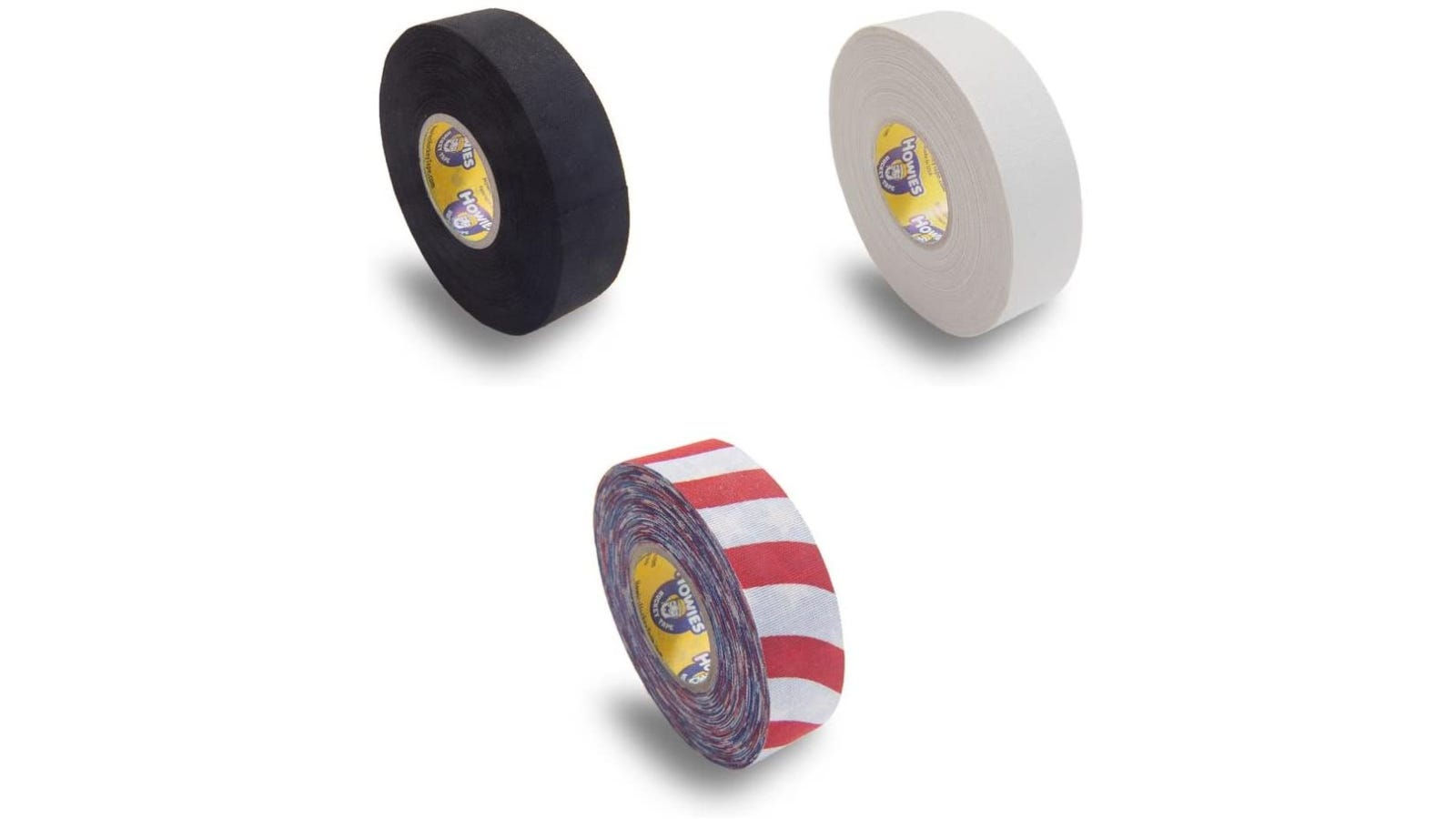 Black, white, and red and white stripped tape rolls against a white background.