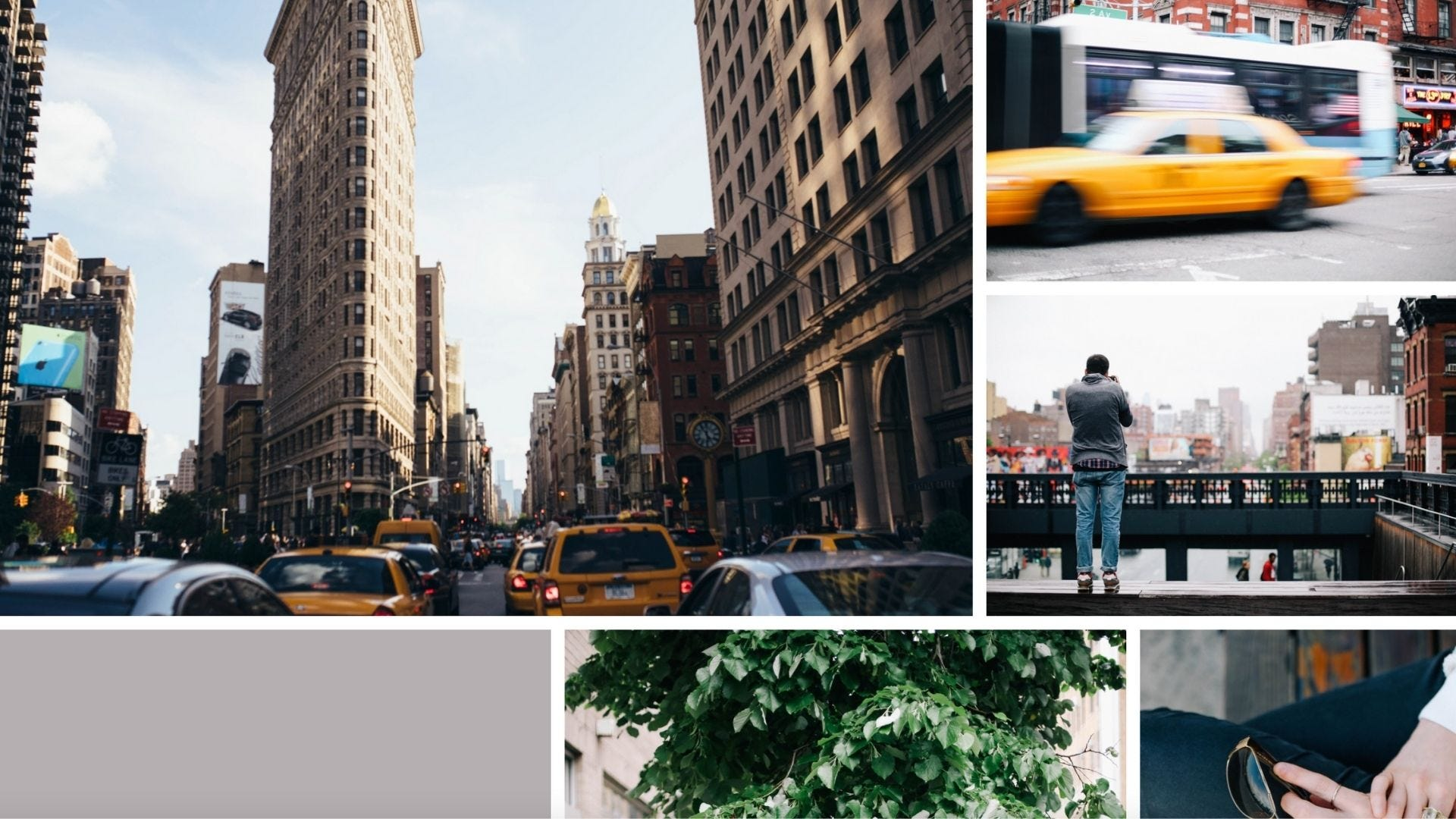 A photo collage from New York City