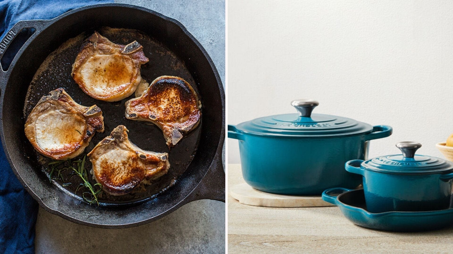 Birds-eye view of a cast iron skillet cooking four pieces of meat; two teal enameled pots sitting on a counter
