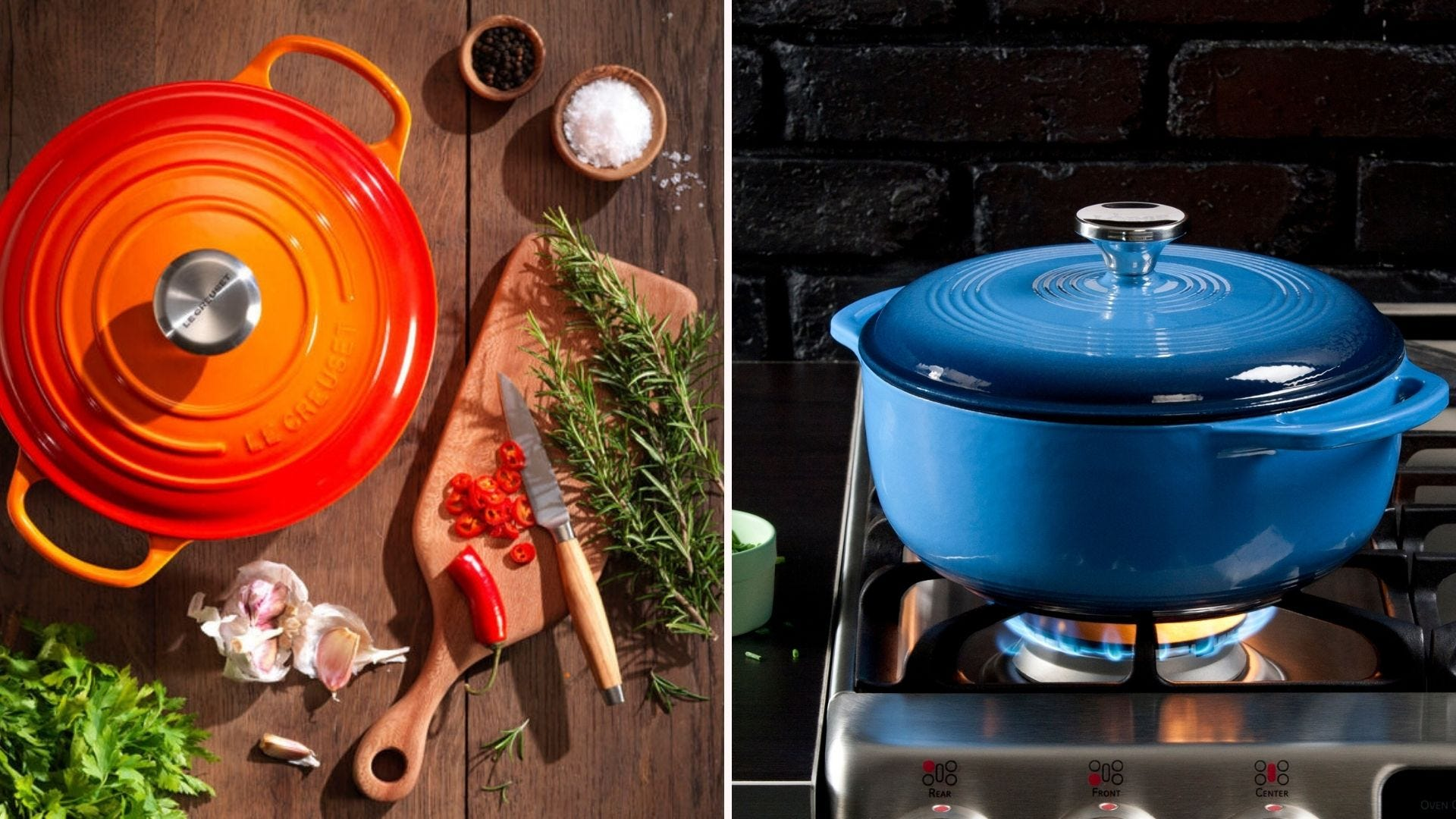 Two closed enameled cast iron Dutch ovens (one orange, one blue)