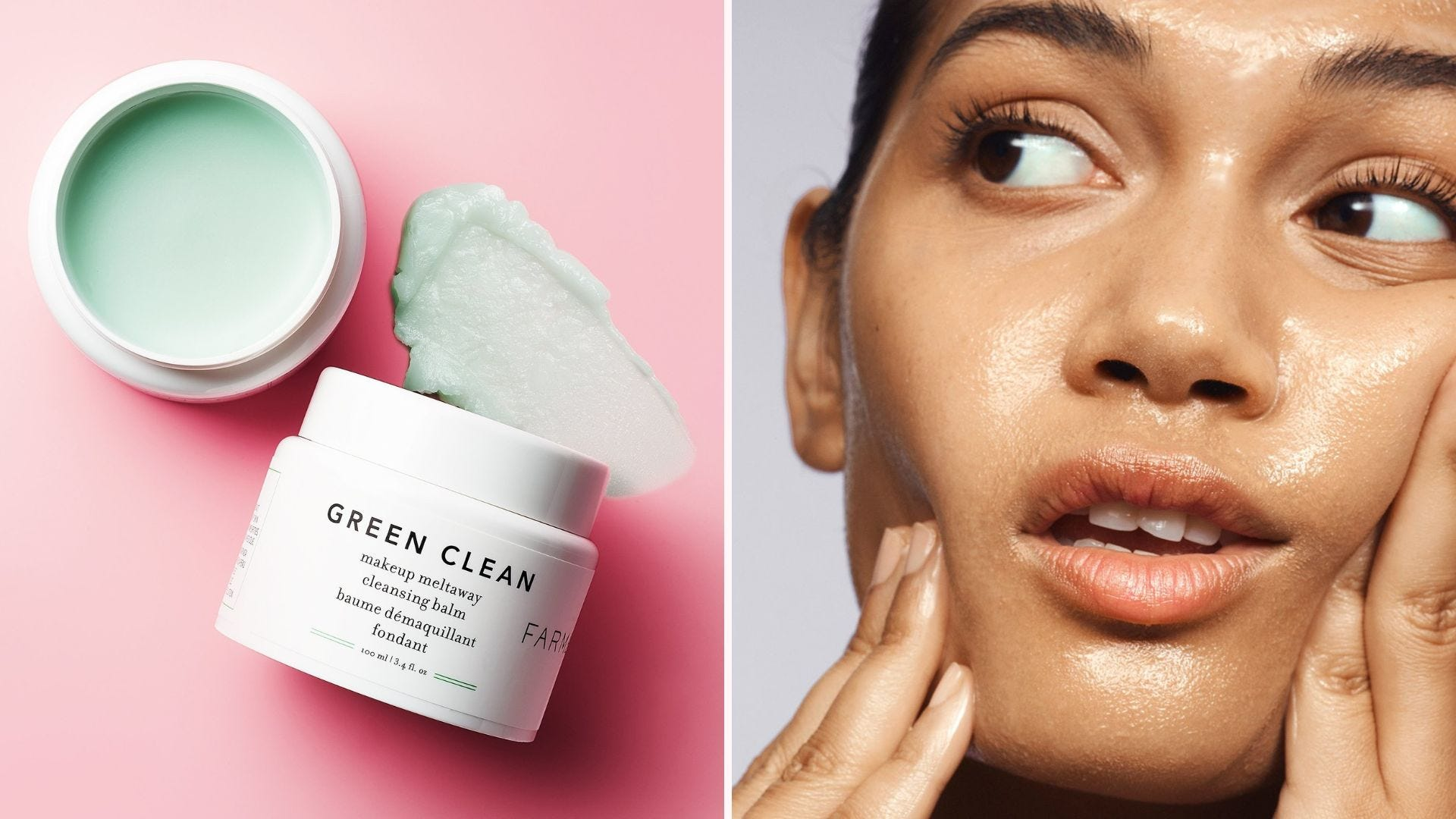 An open white jar with green cleansing balm; a woman's face with oily balm on it