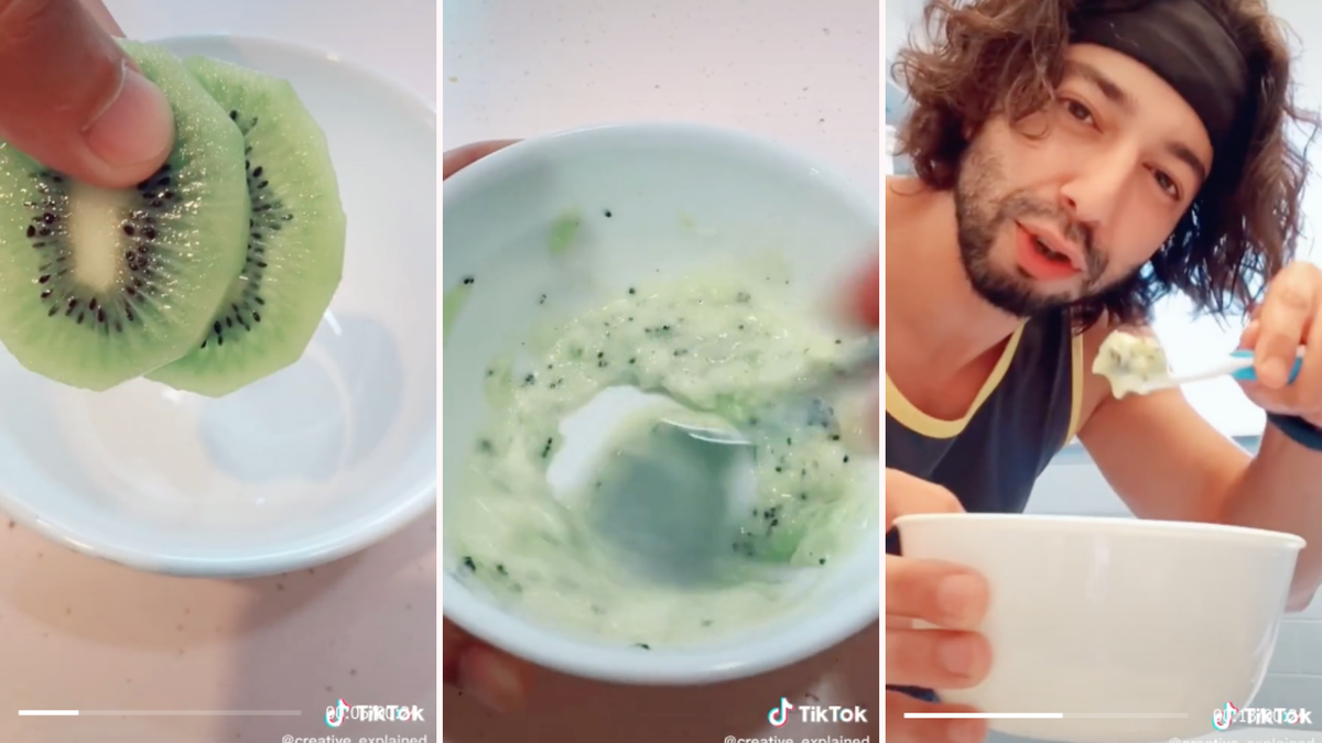 Three photos show two slices of kiwi, then a mixture of mashed kiwi, and finally, a man holding up a toothbrush.