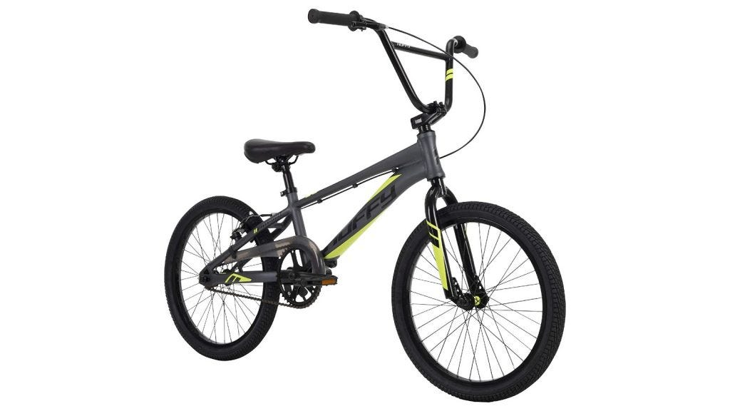 a dark gray Huffy BMX bike