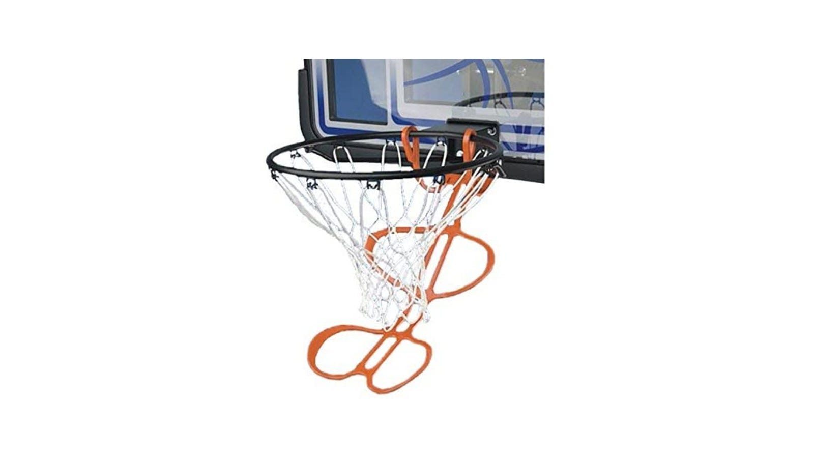 An orange basketball return device with two hooks around the base of a basketball rim.