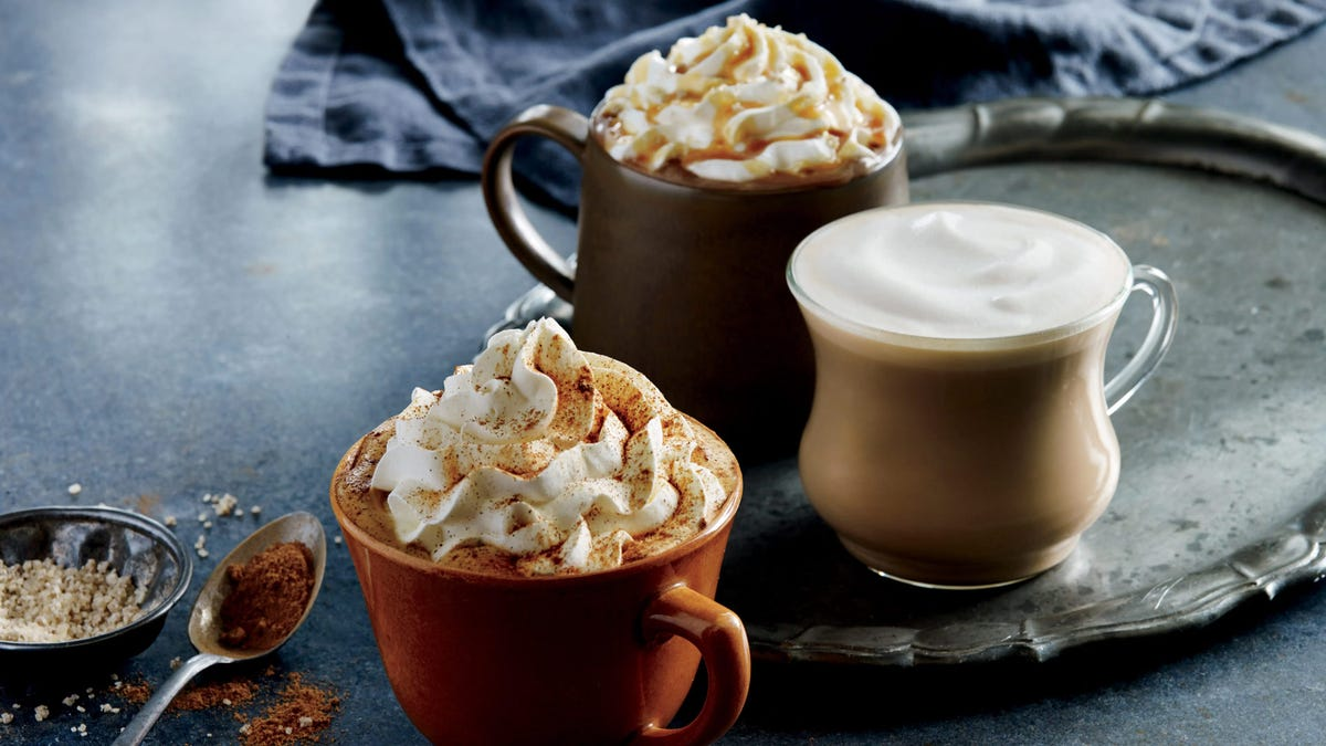 Different pumpkin spice drinks at Starbucks, sitting on a stone counter.