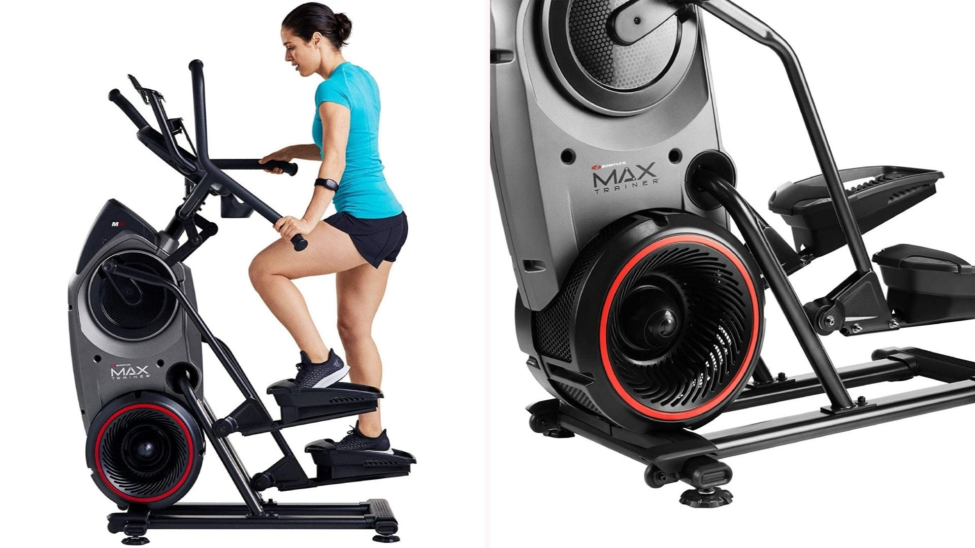 On the left, a woman holds on to handles as she steps on a stair stepper machine. On the right, a close-up of the machines base that features a fan-like design and wide pedals.