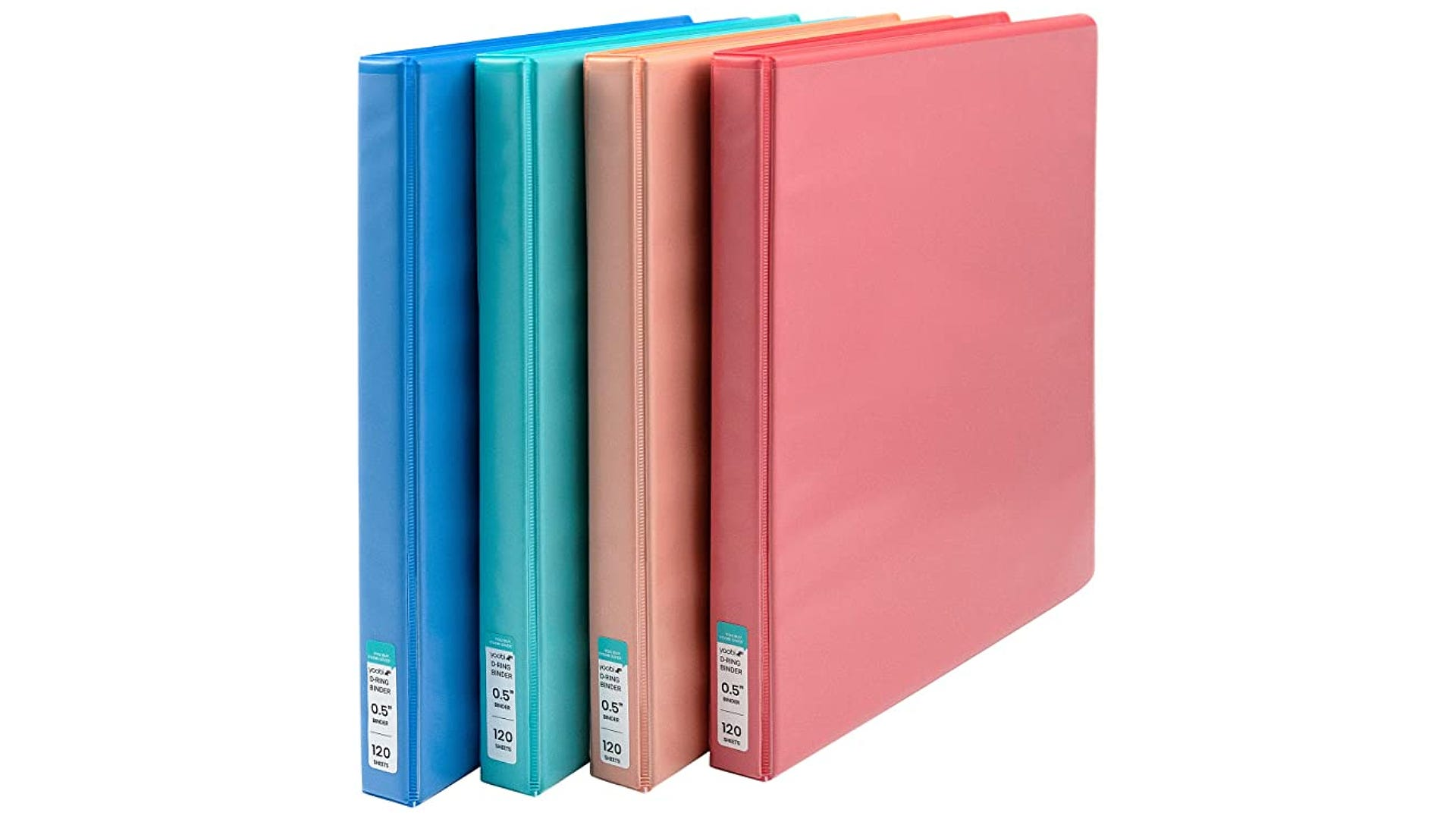 A blue, green, orange, and red folder lined up in a up right position.