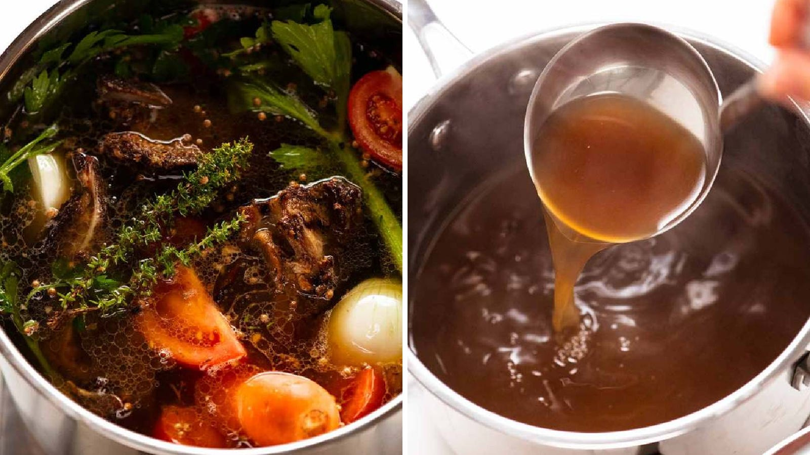 Two images of beef stock made by Recipe Tin Eats.