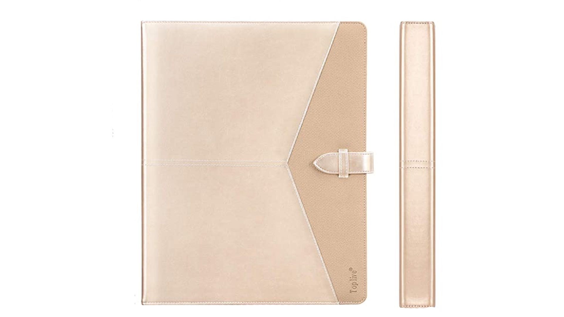 A front and side view of a gold portfolio binder with a buckle closure.