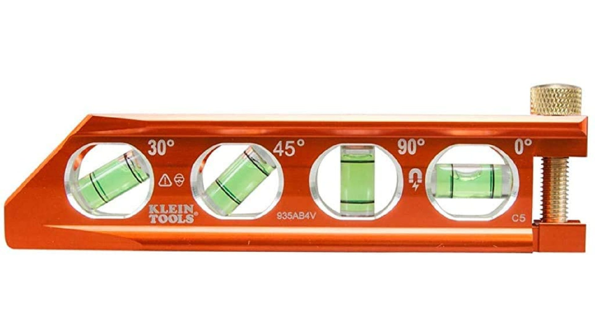 Orange torpedo level with four bright bubble vials and a gold thumb screw.
