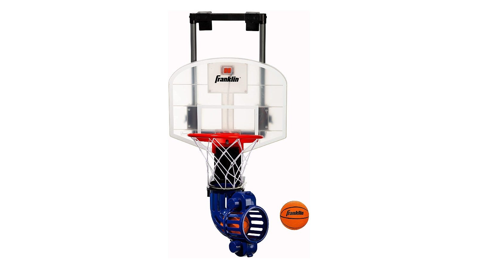 A white basketball hoop with a blue ball return tube attached to the bottom.of the net that is propelling a small orange ball.