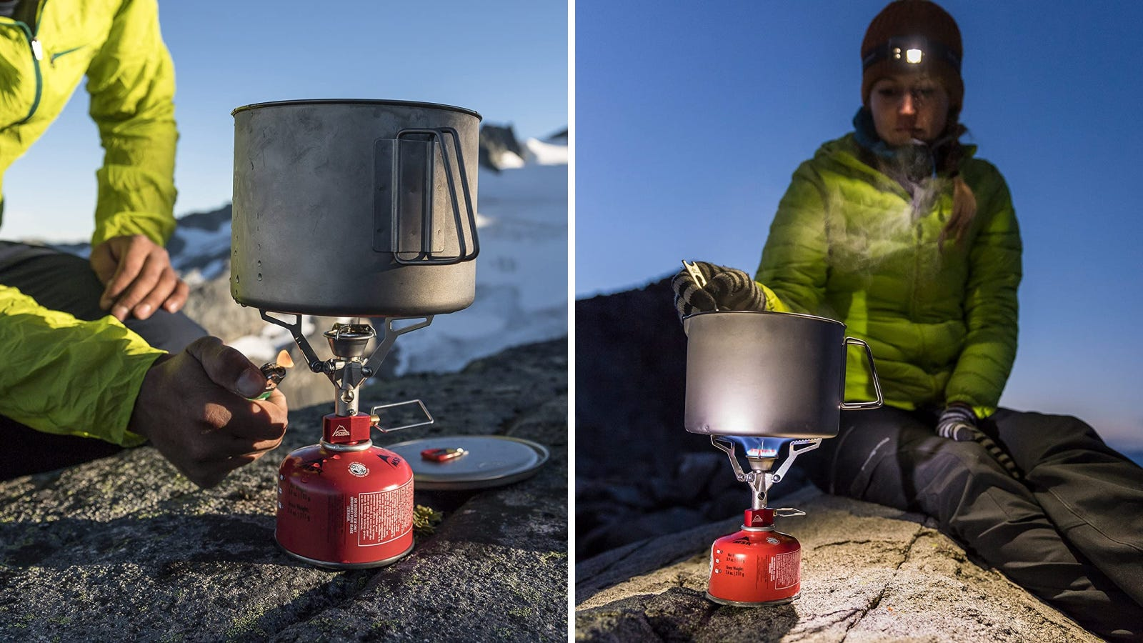 Two side by side image displaying the MSR ultralight camping stove and a hiker igniting it and cooking with it.