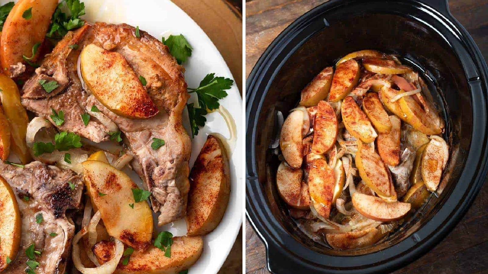 Two images of pork chops with apples and onions.