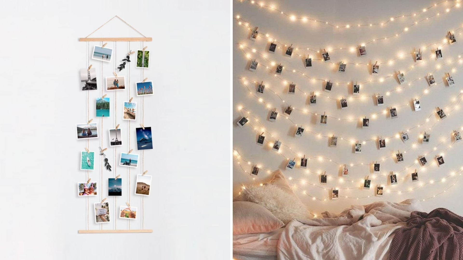 Photos hang on a wall display with clothespins and photos hang on string lights