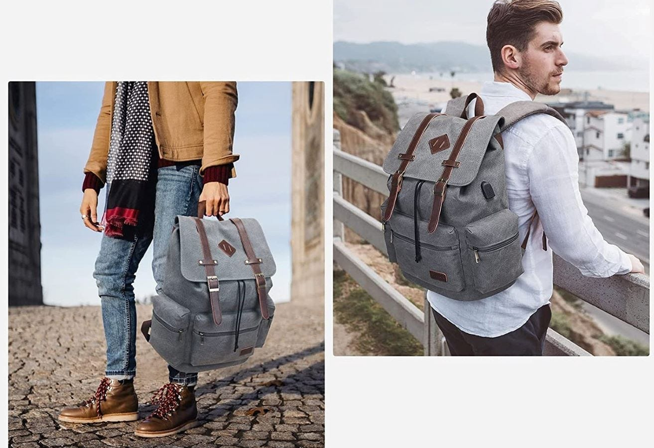 Two people using the Modoker Vintage Rucksack Backpack in Gray.
