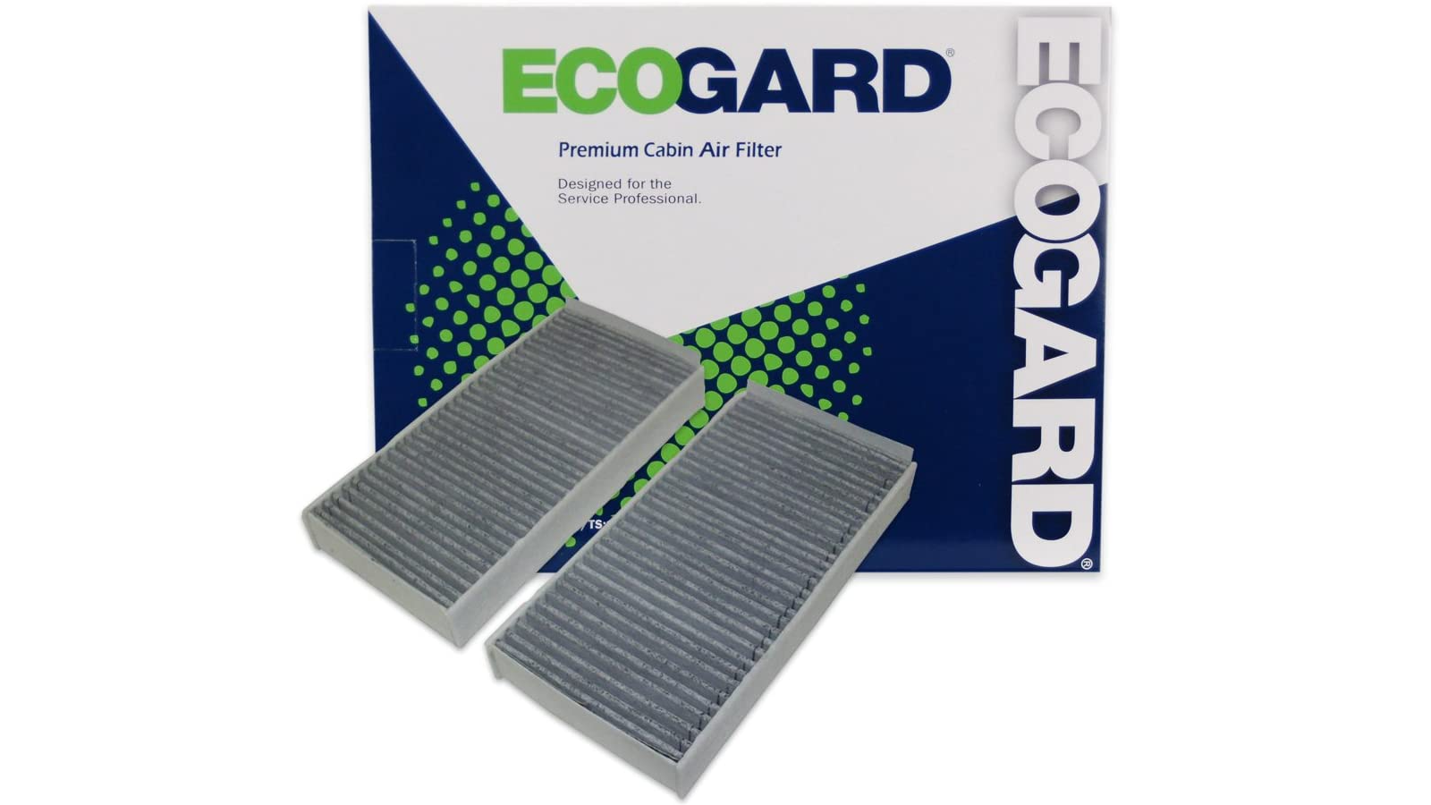 Image of product packaging and two car air filters