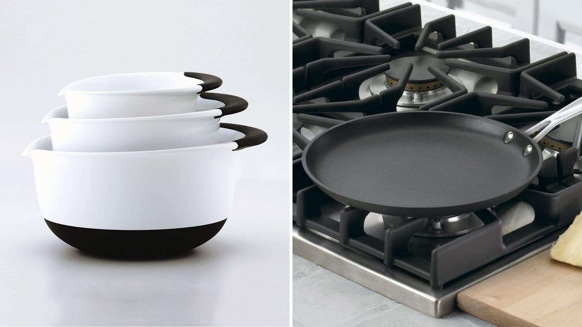 A set of mixing bowls and a crepe pan