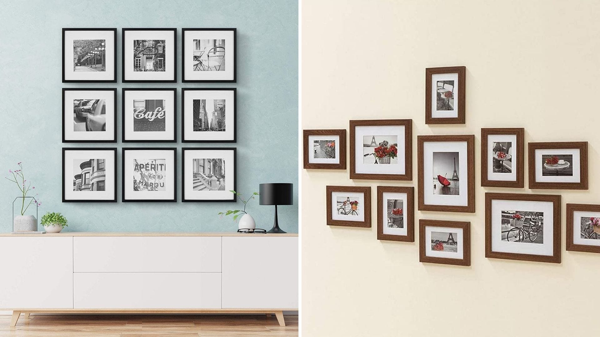Many photos in frames on the wall