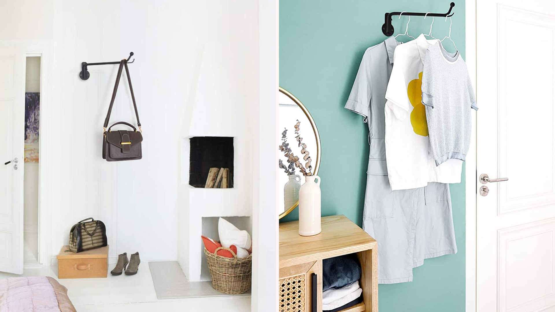 two images of a black clothes hanger on the wall, one holding a handbag and the other holding shirts on hangers