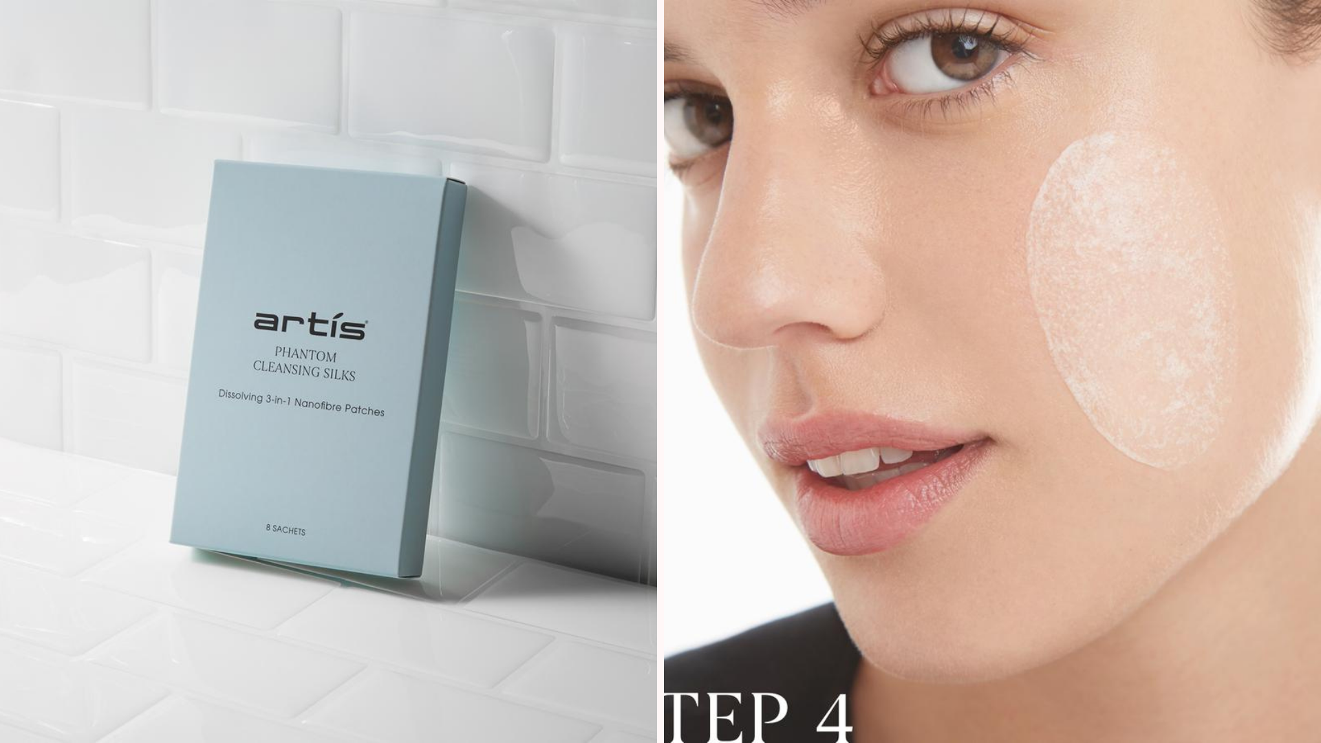 two images, one of cleansing silks in a package and one of a girl using them on her cheek