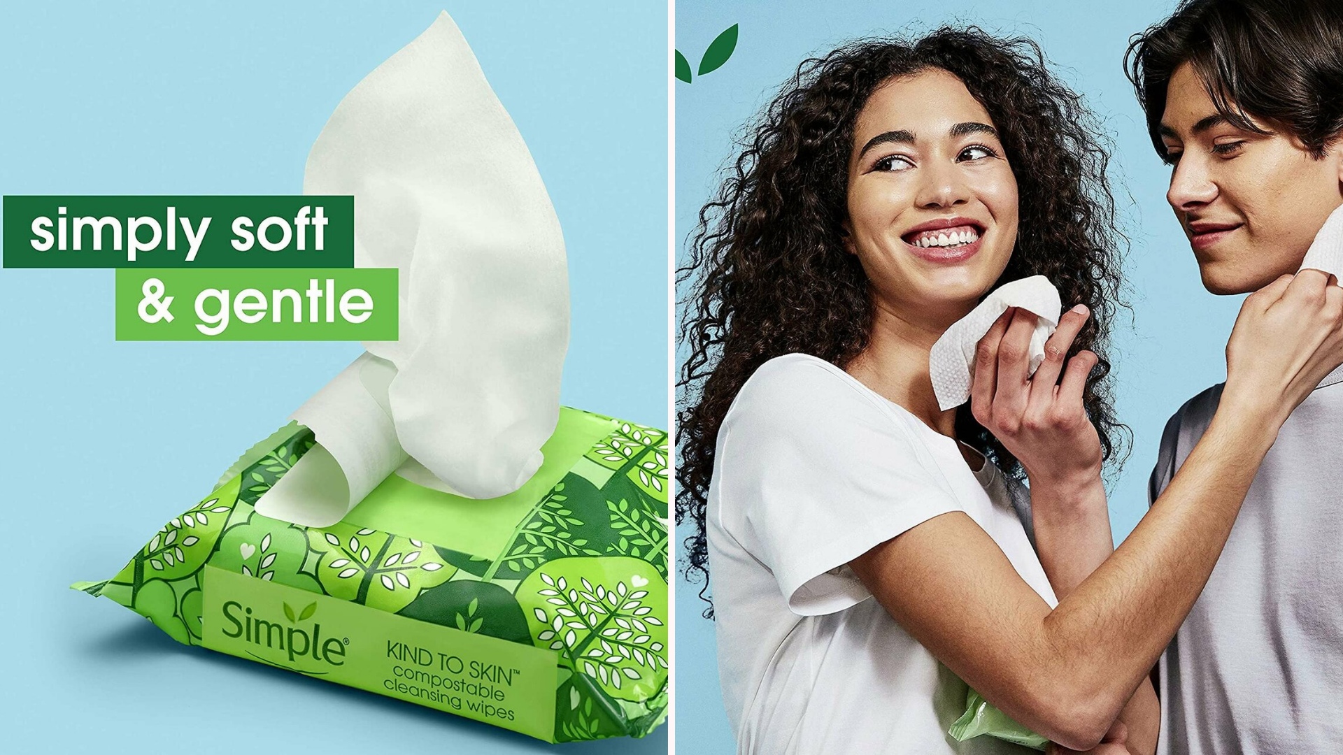 one image of simple makeup remover wipes in a green package and another image of a woman and man using them to clean their faces