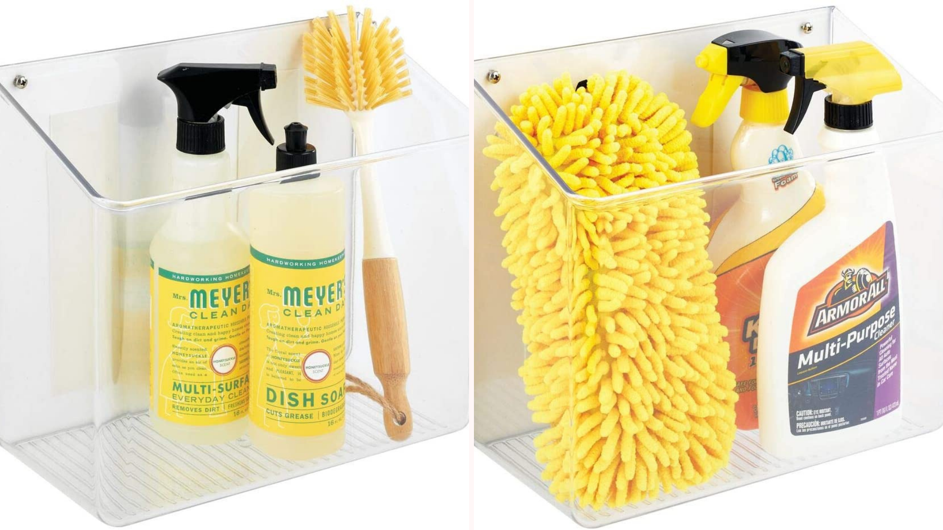 wall mount shelf filled with cleaning supplies