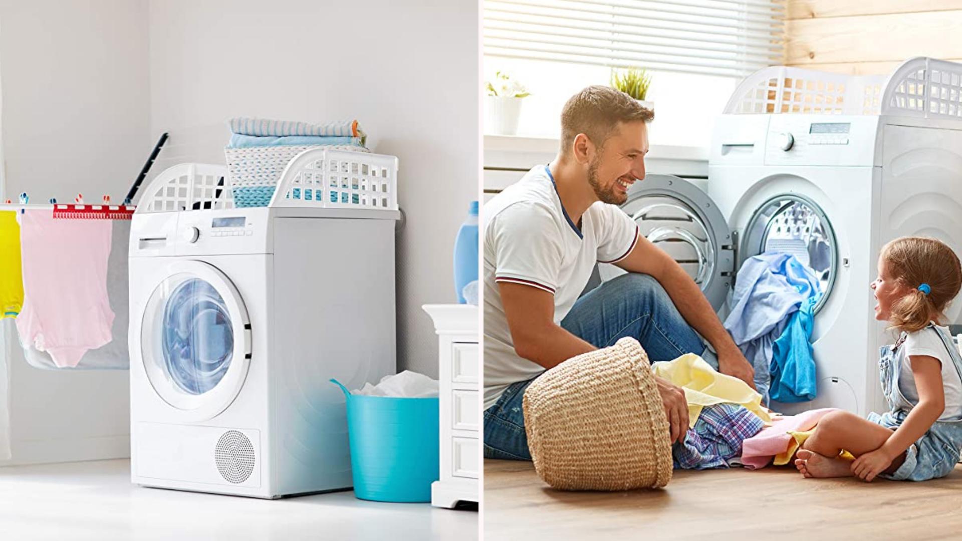 white laundry guard on a washing machine