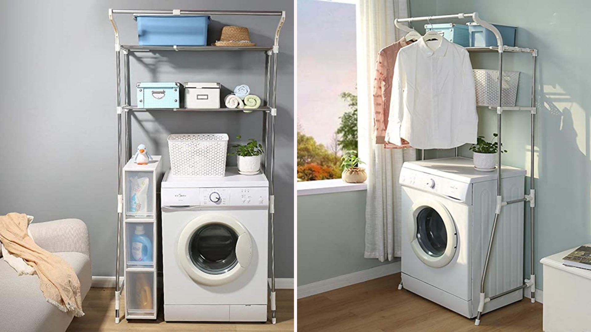 washing machine with storage rack over it holding supplies
