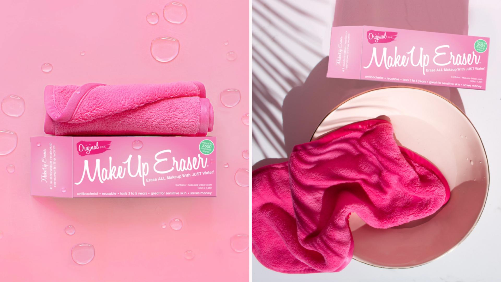two images of pink makeup eraser cloth