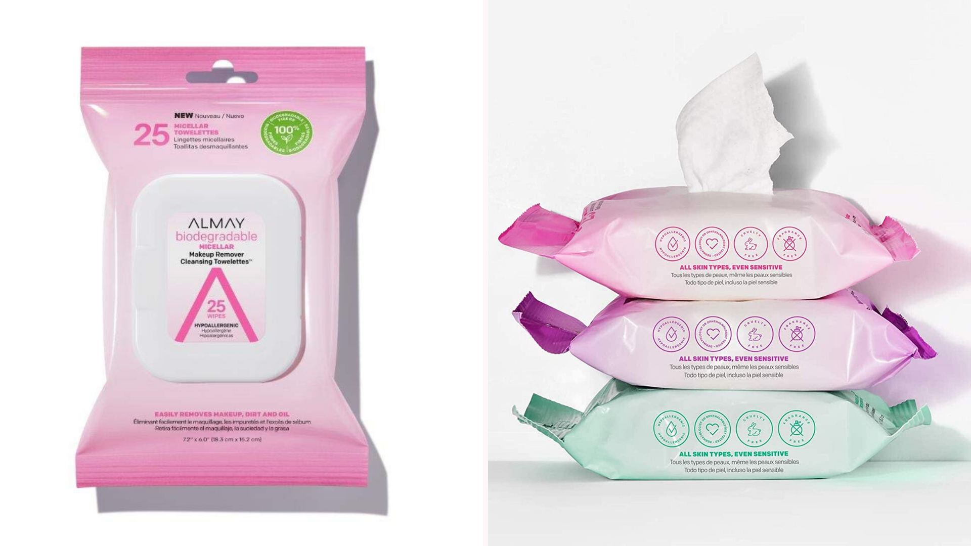 two images of Almay wipe packages, one opened