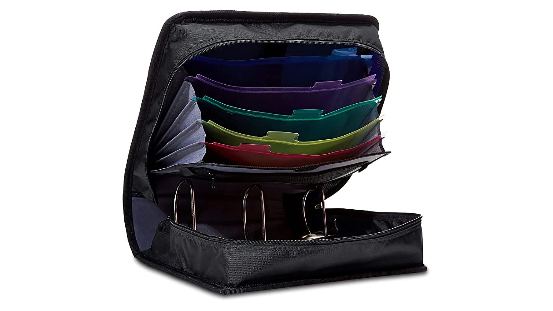 An open black binder to reveal three large rings and multiple colored folders.
