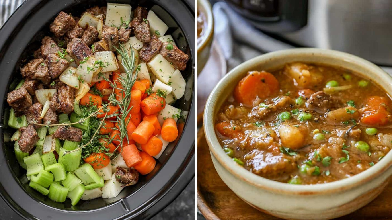 Two images of beef stew; the left image shows all the ingredients of beef stew placed in a slow cooker before it is cooked and the right image is a bowl of the finished product.