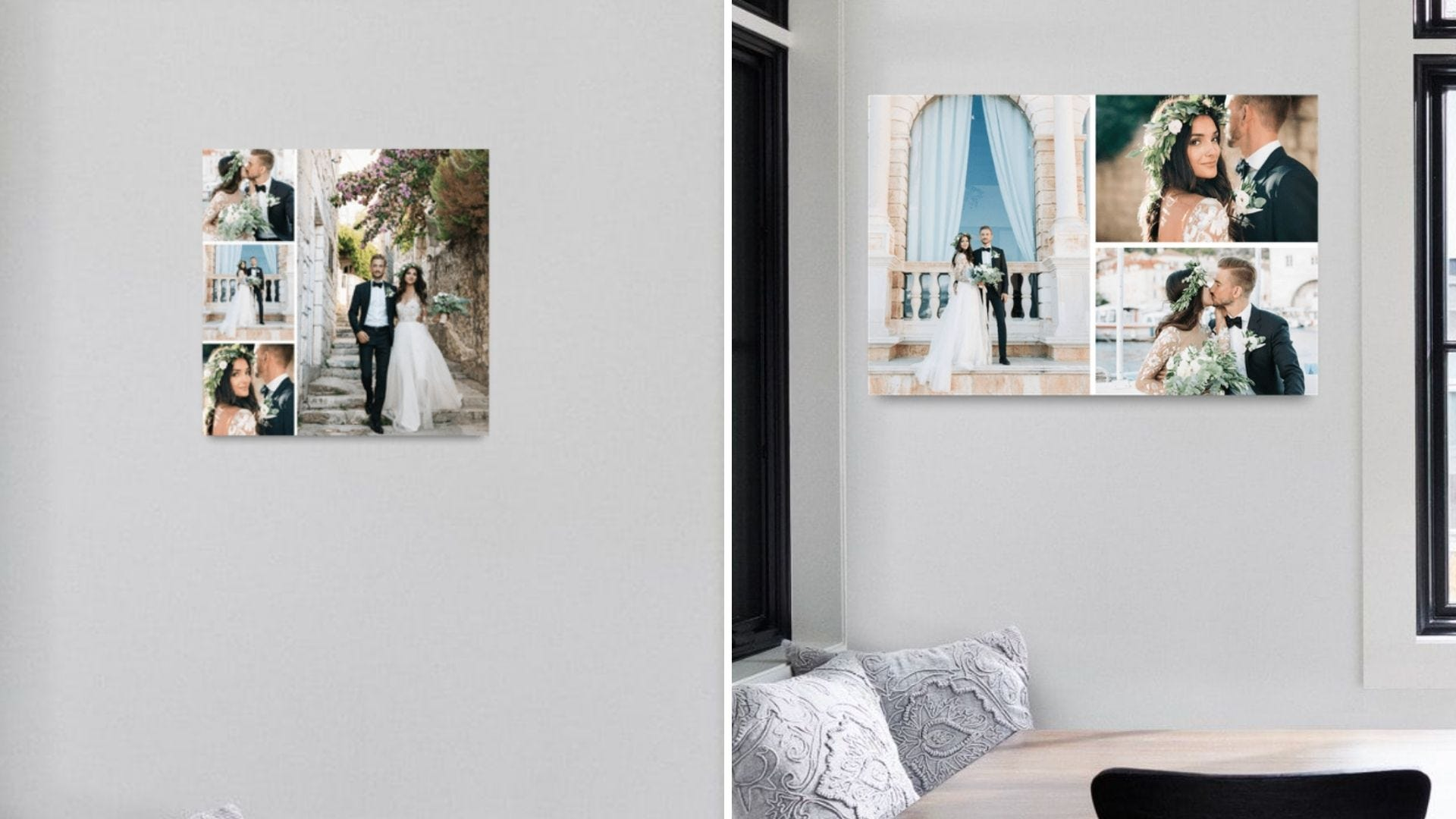 Two different photo collages on the wall