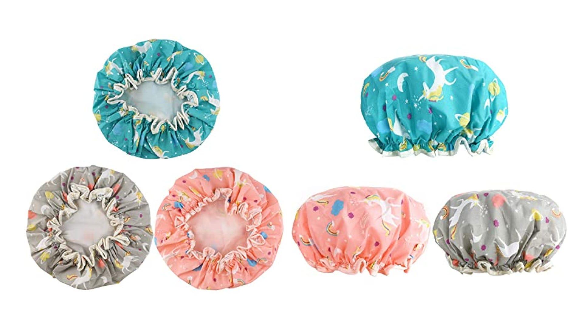 dual vies elastic bottom and side three unicorn printed shower caps. blue, pink, gray