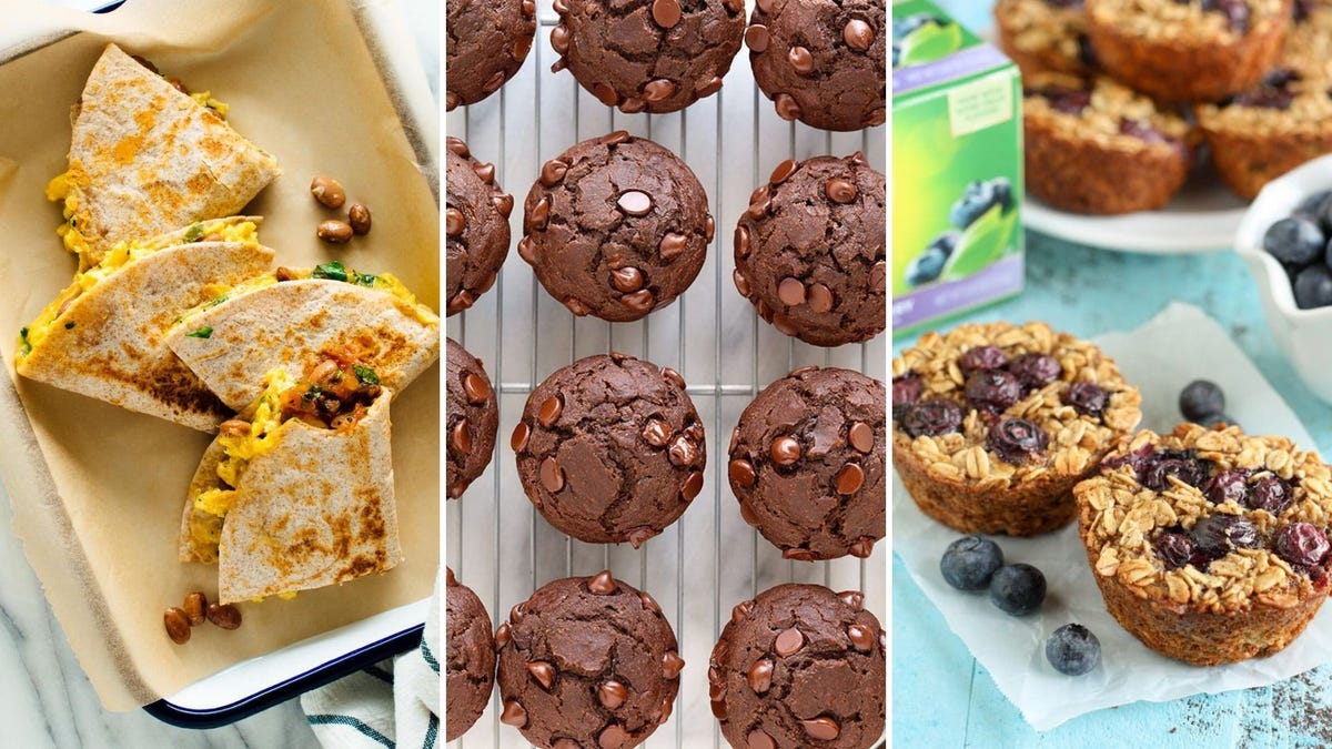 Breakfast quesadillas, chocolate muffins, and oatmeal muffins with blueberries