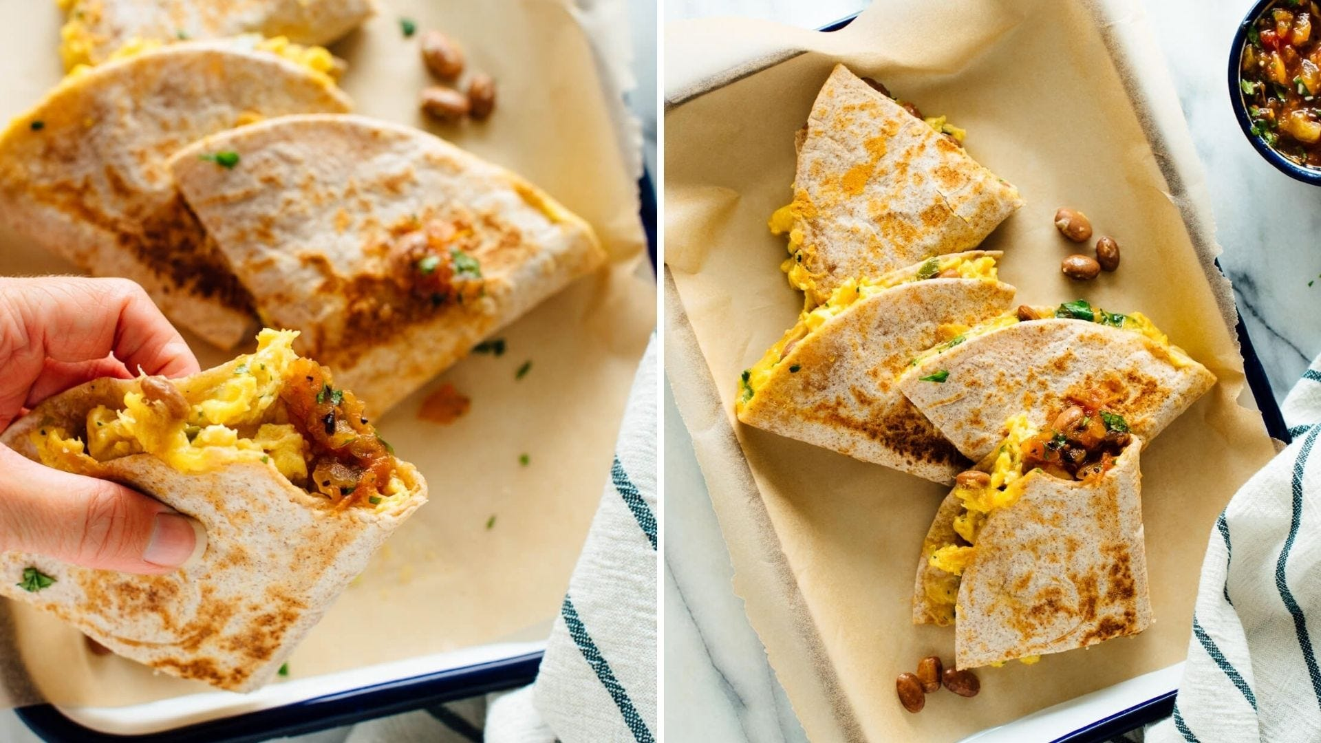 Folded quesadillas with eggs and sausage