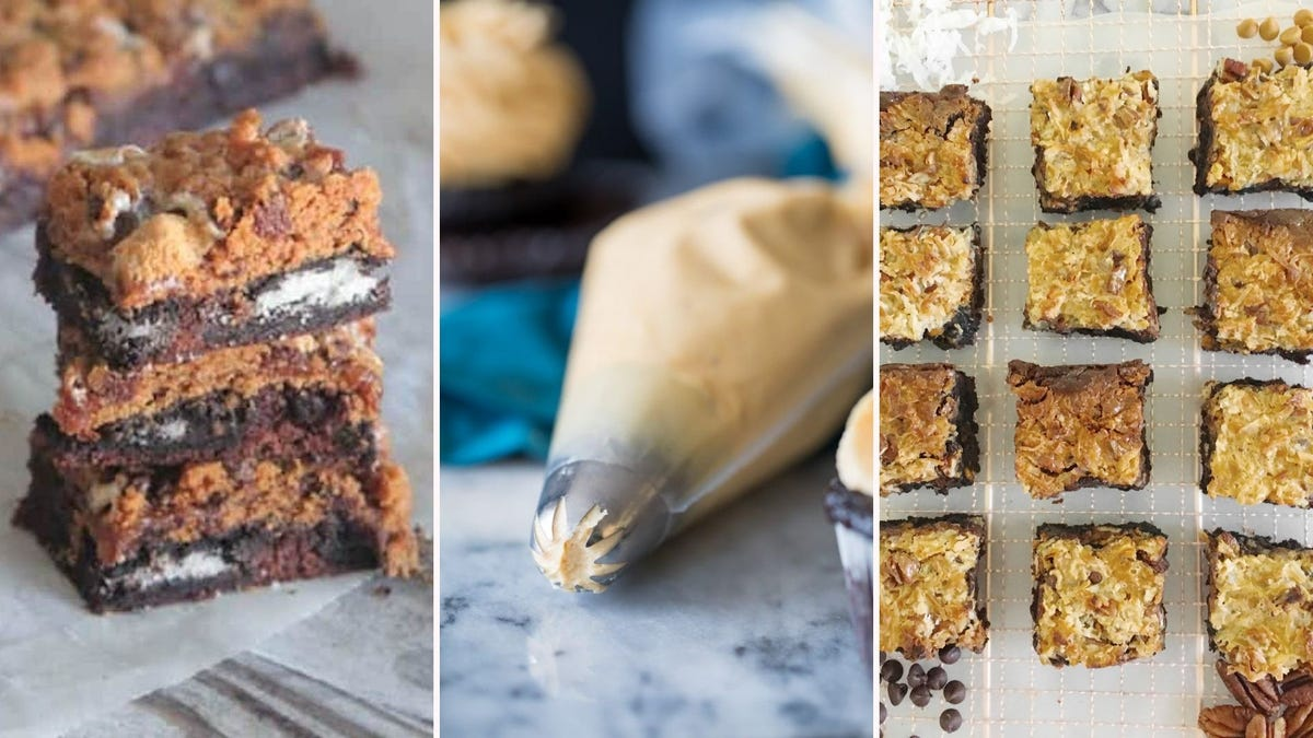 Two brookies stacked on top of each other; a bag of peanut butter frosting; overhead view of brownie bars