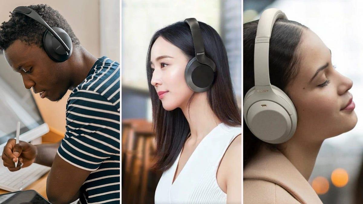 Three people wearing over-ear headphones