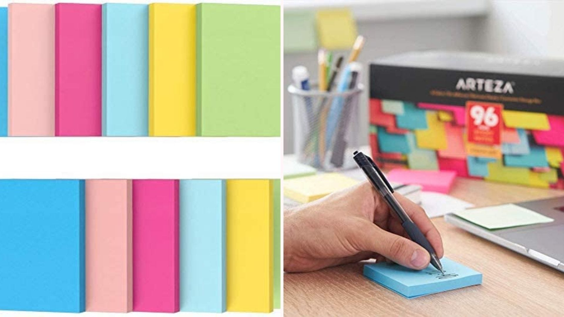 On the left, two rows of multicolor sticky note pads. On the right, an offscreen person sits at their desk while writing on a blue note pad.