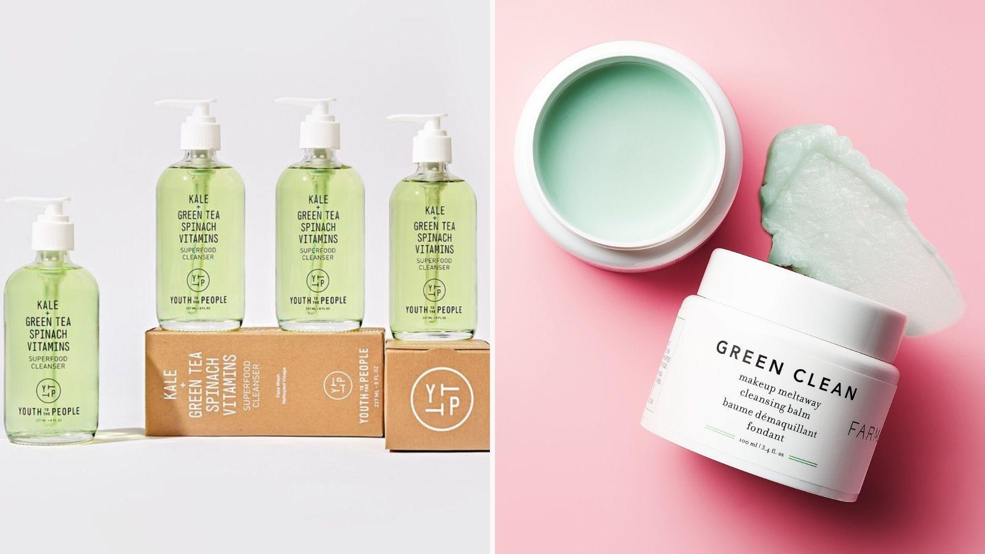 Clear bottles of green face cleanser; an open jar of green cleansing balm