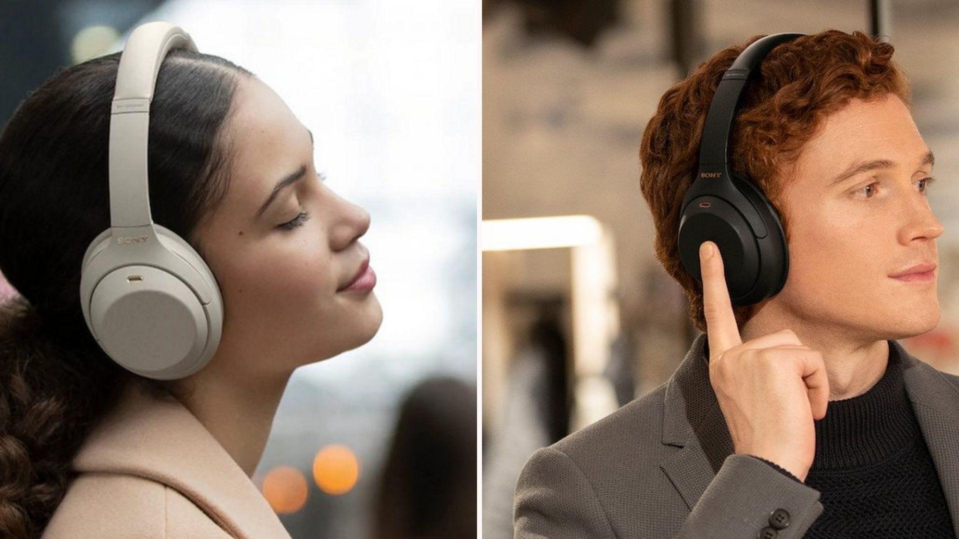 A woman wearing white headphones; a man wearing black headphones